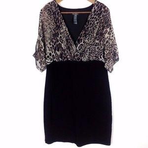 Bisou Bisou Animal Print Dress Sz 18W Plus Womans